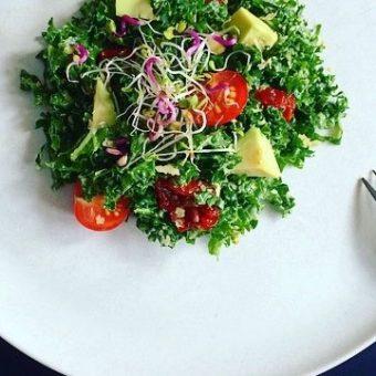 Simple + Healthy Kale, Avocado and Sprouts Salad recipe