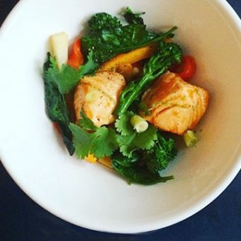 Simple + Healthy Salmon Teriyaki and Stir Fried Vegetables recipe