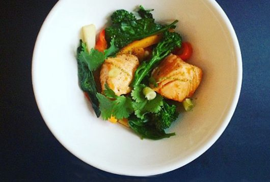 Simple + Healthy Salmon Teriyaki and Stir Fried Vegetables recipe