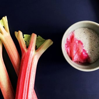 Simple + Healthy Chia Seed Pudding + Stewed Rhubarb recipe