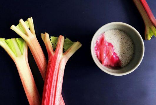Simple + Healthy Chia Seed Pudding + Stewed Rhubarb recipe