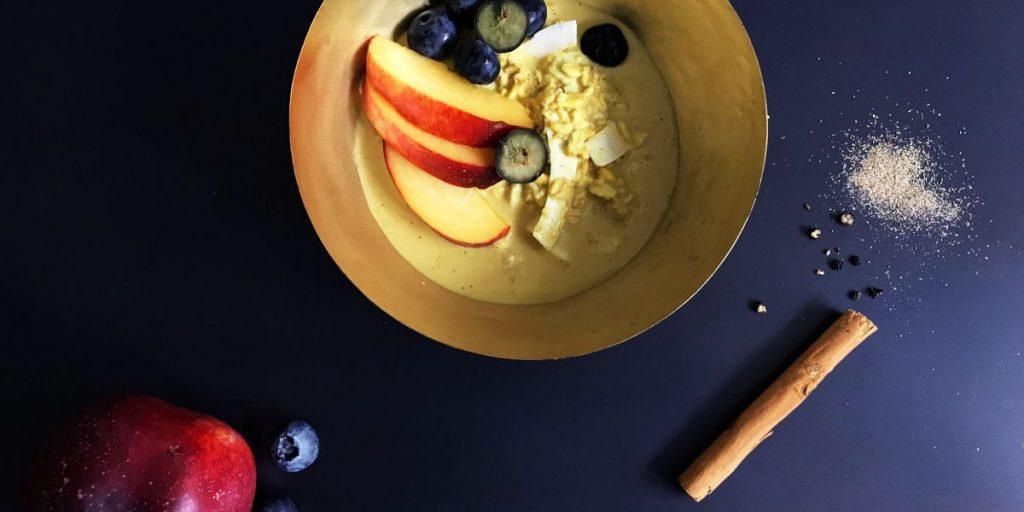 Simple + Healthy Golden Milk Latte Overnight Oats recipe