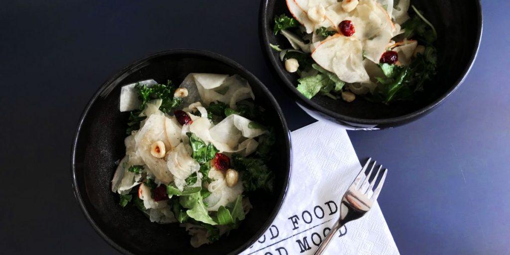 Simple + Healthy Kale, Apples + Kohlrabi Salad recipe