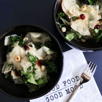 Simple + Healthy Kale, Apples + Kohlrabi Salad recipe