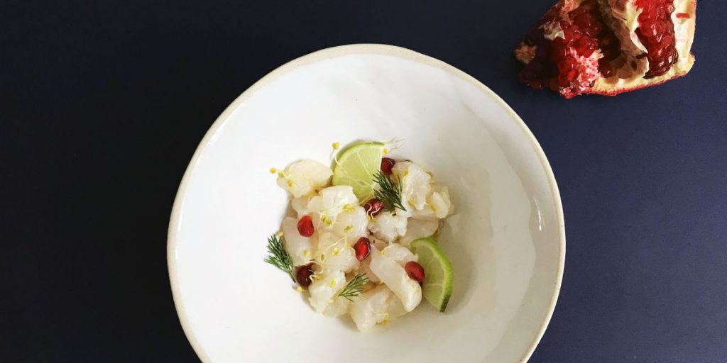 Simple + Healthy Sea Bass, Lime and Pomegranate Ceviche recipe